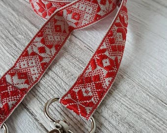 Snow flake patterned replacement bag strap, Swedish style, Christmas  patterned lobster clasp across the shoulder strap