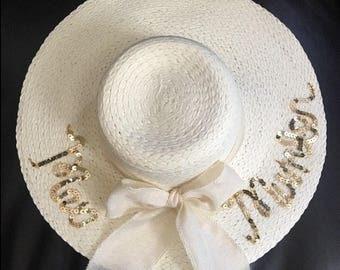 Sequin bride sun hat