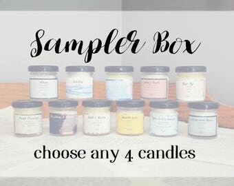Sampler Set - 4 x 1.5oz Candle - Fiction Inspired - Scented Soy Candle - Book Lover Gift