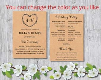 Printable Wedding program template card ,Floral Rustic Heart Wedding Ceremony Editable Text INSTANT DOWNLOAD MS Word, W1.
