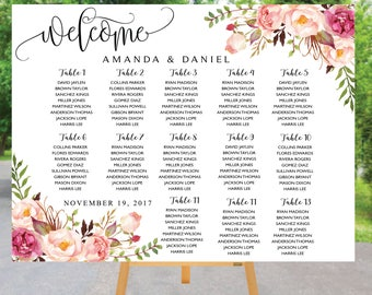 Wedding Seating Chart, Poster wedding, Seating Chart, Wedding Table seating, Decor Signs , Wedding decor, Signs, Decor, Find Your Seat, SC82