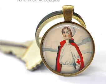Vintage Nurse Key Ring • Red Cross • Retro Nurse • Student Nurse • Graduation • Registered Nurse • Gift Under 20 • Made in Australia (K511)