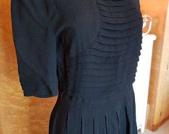 Gorgeous black crepe cc41 1940s dress