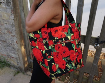 SALE! Black & Red Floral Shoulder Bag