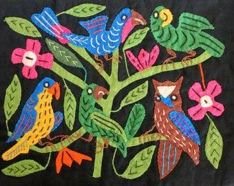 Vintage Tropical Bird Mola Folk Art - Handmade in Mexico