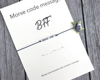 BFF morse code, Morse code bracelet, Morse code gift, Bff bracelets, Best friend forever, Friendship bracelet, Best friend bracelet, A80
