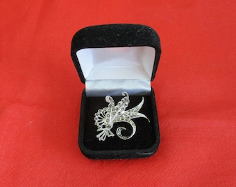 Art Deco Sterling Silver and Marcasite Fern Brooch