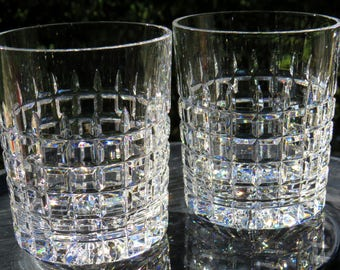"""Pair of Old Fashioned Crystal Whiskey Glasses-MINT-Similar to Waterfords """"London"""" Pattern-Gorgeous!"""