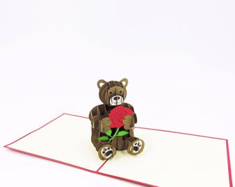 Love Bear Card, Valentine's Day Card, Love Card, Anniversary Card, Valentine Pop Up Card