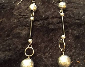 Vintage White Metal Dangle Earrings With Disco Ball Style Bead At Top