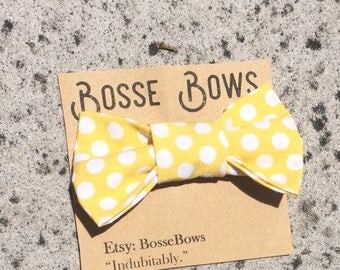 Toddler bowtie/ clip on bow tie/ baby bow tie/ yellow bowtie/ infant clip on bow tie/ bowtie onesie/boy bowtie/ring bearer bowtie