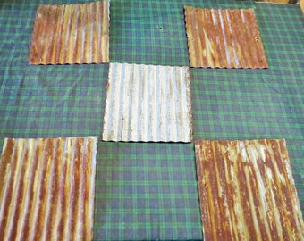 "12 pieces of 12"" x 12"" Reclaimed  Corrugated Metal Roofing"