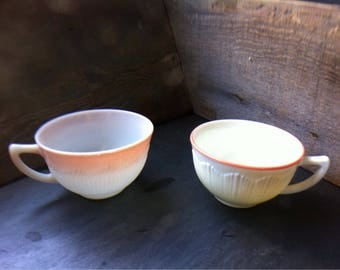 2 Different Vintage Milk Glass Tea/Coffe Cups~Punch Bowl Cups with Pink Accents