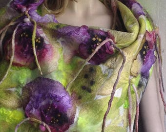 SALE - NEW - Nuno felted Floral Violet Aubergin Green Vanilla Scarf  with Decorative fringe Embroidered with beads Unique OOAK