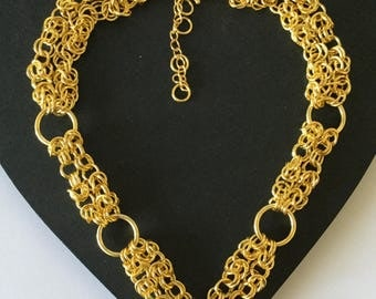 Gold chain maille choker