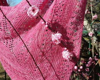 Plum Blossom Shawl, Wrap, Summer Weight, Wool, Handknitted, Lace, One of a kind, original design