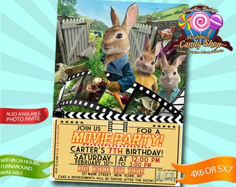 Peter Rabbit, Invitation, Digital, Decorations, Invite, custom, personalized, birthday, party, The Movie, Cinema, Movies, Printable, ticket