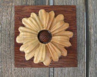 Reclaimed Wood Mahogany and Doug Fir Flower Decorative Wall Plaque