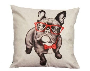 Frenchie French Bulldog With Red Glasses Throw Pillow Case