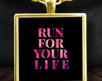 """Gift for Runner! """"Run For Your Life"""" Gold-plated 22"""" Chain and 1"""" Square Pendant Necklace!"""