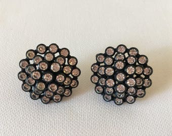 Vintage Black Earrings / Rhinestone Earrings / Vintage Rhinestone Earrings / Screw Back Earrings / Dessy Earrings / Special Occasion Earring