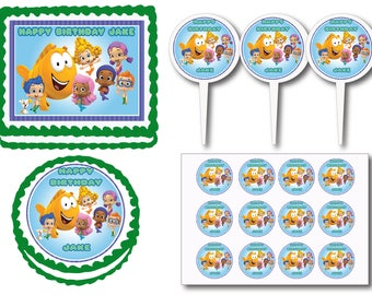 Bubble Guppies Birthday Party Edible Cake Cookie Toppers or Plastic Cupcake Pick Stickers Decoration Baking Supply