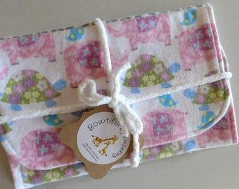 "Elephants and Turtles, ""Baby"" Print & Polka Dot Burp Cloths - Set of 2 - Baby Gift - Baby Shower Gift"