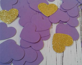 Purple paper confetti, heart confetti, wedding confetti, wedding toss, card stock confetti, bridal shower confetti, paper hearts, confetti.