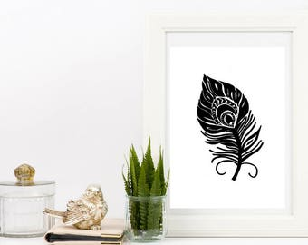 Feather Wall Art peacock feather art | etsy