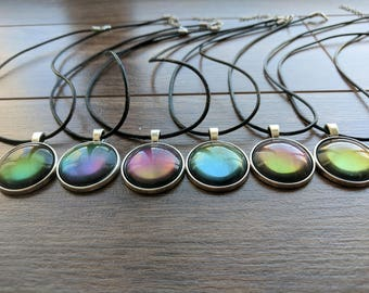 Gem Necklace - Colorful Iridescent Pendant - Crystal - Glass