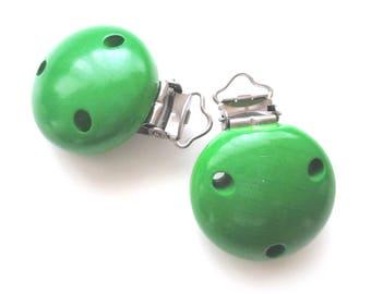 Pacifier clip-green wooden clip