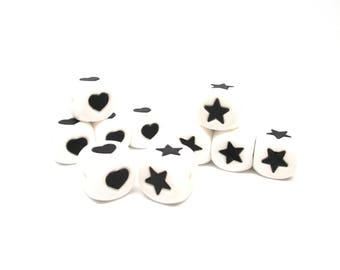 10 Cube silicone - heart & star beads
