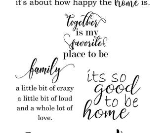 set of 5 family sayings SVG