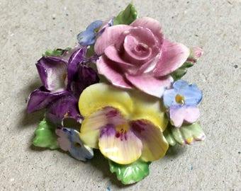 Coalbrook China Porcelain Flower Bouquet Brooch
