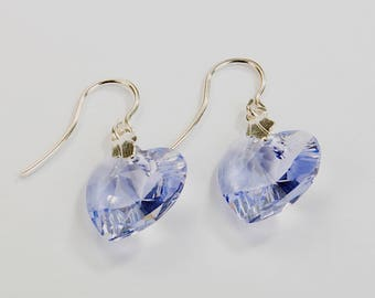 Silver earrings 925 heart swarovski elements lilac.