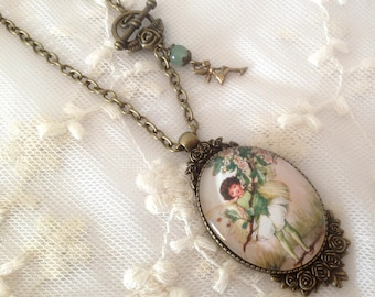 Cameo necklace fairy green flowers.