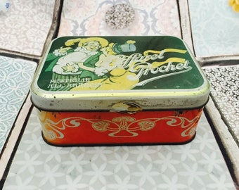 1970s Pastigle All Aracia Tin, Lift Off Lid Tin Box Vintage