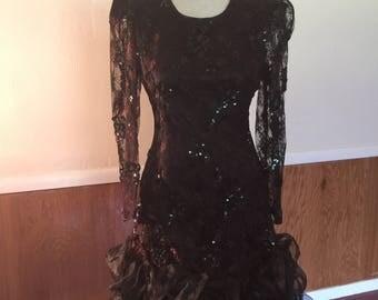 Black & Copper 1980's Party Dress
