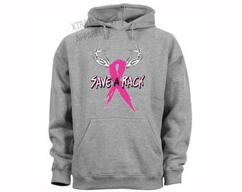 Free Shipping Breast Cancer Awareness October Save a Rack Pink Support Ribbon Survivor Hoodie