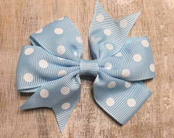 Light Blue and White Polka Dot Grosgrain Ribbon Bow, Alligator Clip, Barrette, 3 inches wide, Hairbow, Girls