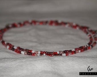 Double Wrap Glass Bead Necklace - Candy Apple