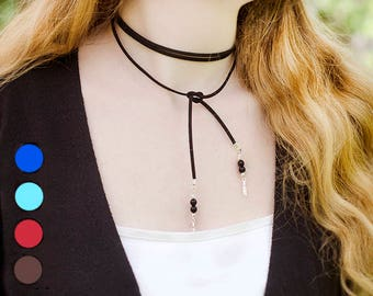 Leather Choker Necklace Thin Long Lariat Necklace Boho Necklace Long Tie Necklace Faux Suede Necklace Lariat Thin Choker Boho Fashion Choker