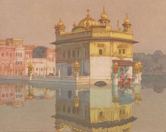 "Japanese Art Print ""Golden Temple in Amritsar"" from the India and Southeast Asia Series by Yoshida Hiroshi, woodblock print reproduction"