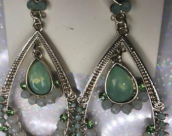 Green Crystal Hoops Earrings