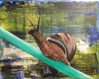 Snail - Acrylics on 8x10 Canvas
