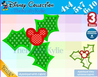 Christmas MICKEY APPLIQUE DESIGNS - 3 Sizes 4x4, 5x7, 6x10