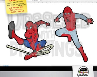 Spiderman Homecoming SVG patterns and Clipart, png images excellent resolution, papercraft application, stickers and more