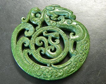 Large Master Carved Green Jade Dragons Good Fortune Statement Amulet - Dragons Symbol Of Good Fortune & Prosperity