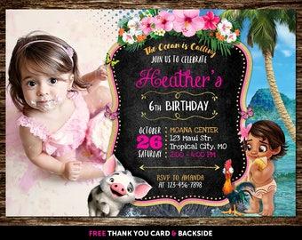 Moana Invitation With Photo, Moana Invitation With Picture, Moana Birthday Invitation With Photo, Moana Baby Invite, Moana Baby Birthday