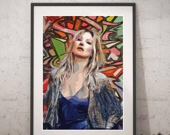 Kate Moss print portrait, Kate Moss Pop Art poster, Instant download Wall art, Printable Kate Moss Poster, Kate Moss Fashion Home Decor